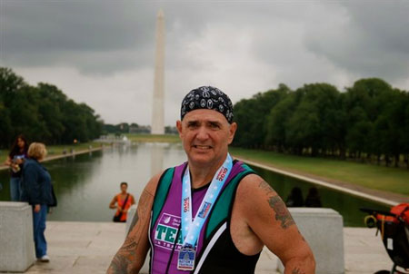 Nation's Triathlon in 2010. This was the first triathlon I completed. The money I raised was donated to finding a cure for cancer.